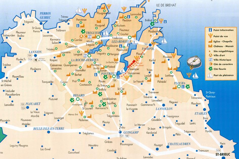Images  cotes d armor carte touristique  Photos et cartes